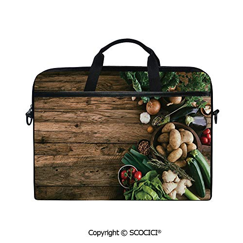 Mobile Edge Select Leather - Printed Waterproof Laptop Shoulder Messenger Bag Case Various Vegetables on Rustic Wooden Table Onions Potatoes Zucchini Cherry Tomatoes Decorative for 15 Inch Laptop Notebook