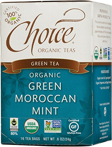 Choice Mint - Choice Organic Teas Green Tea, Green Moroccan Mint, 16 Count, Pack of 6