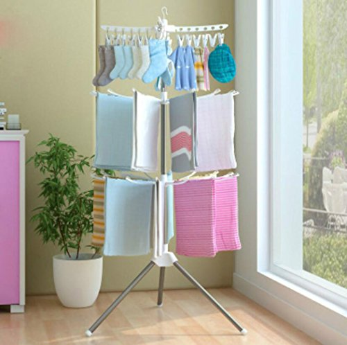 LyMei Foldable Drying Rack 3-Tier Tripod Clothes Hanging Rac