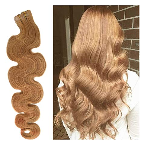 - Remy Tape in Human Hair Extensions Soft Curly #27 Strawberry Blonde Glue in Hair Extensions 20pcs Body Wave Hair 20 Inches