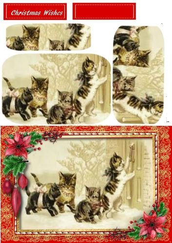 Christmas Cats in un cucita Frame (Ppyramid) by Ceredwyn Macrae Craftsuprint
