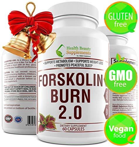 * FORSKOLIN BURN 2.0, Vegan Friendly,Gluten Free,Forskolin Extract For Weight Loss,Carb Intercept,Coleus Forskohlii,Forskolin Pure, Forskolin Capsules,Forskolin 500mg,(DAILY),Forskolin 250mg,(PER CAP)