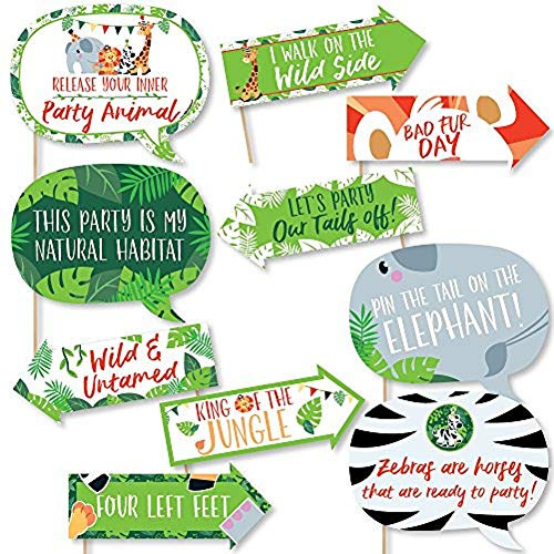 Funny Jungle Party Animals - Safari Zoo Animal Birthday Party or Baby Shower Photo Booth Props Kit - 10 Piece