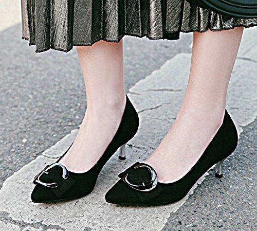 Aisun Kvinnor Snedsteg På Pumpar - Kattunge Häl Spetsig Tå Stilettos - Dressat Lågt Skuren Slitage Att Arbeta Skor Svarta
