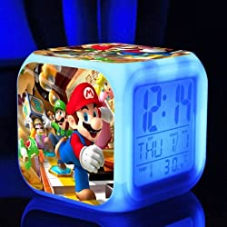 SUPER MARIO BROS 7 Colors Change Digital Alarm LED Clock Game Cartoon Night Colorful Toys for Kids (Style 2)