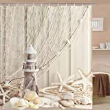 Fishing Net Shower Curtain BLEUM CADE Nautical Shower Curtain Coastal Sea Shell Fishing Net Marine Ocean Beach Theme Bathroom Decor Lighthouse Starfish Bathroom Accessory with Hooks