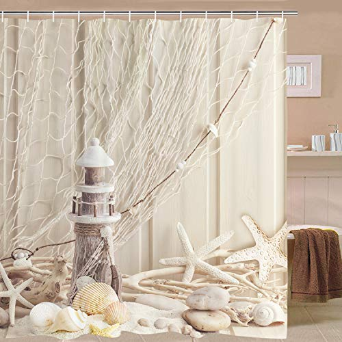 BLEUM CADE Nautical Shower Curtain Coastal Sea Shell