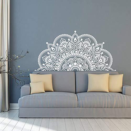 SIZ13KL Wall Decal Mandala, Half Mandala, Vinyl Wall Sticker, Yoga Gift Ideas, Master Bedroom, Headboard Art Pattern Decor MT44Purple-L 116x57cm