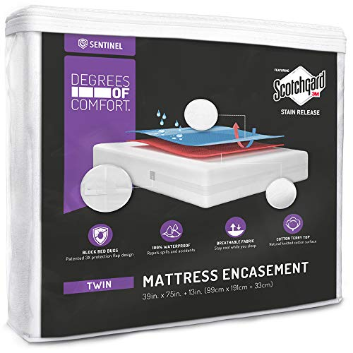 Degrees of Comfort Waterproof Zippered Mattress Encasement – Breathable Mattress Cover with Advance Patented Zipper Flap Design - 3M Scotchgard Stain Release Technology