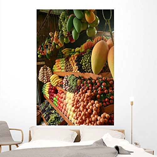 Wallmonkeys WM208652 Marché Aux Fruits Wall Decal Peel and Stick Graphic (72 in H x 48 in (Aux Fruits)