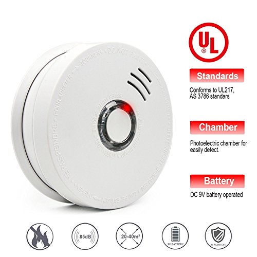 Smoke Alarms, Photoelectric Smoke Detector and Fire Alarm with Light Sound Warning 9V Battery (Included) Powered Fire Safety for Home Hotel School etc Passed UL Certification Light Fire Battery