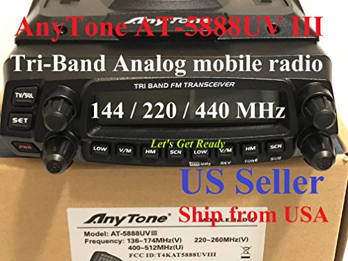 (AnyTone AT-5888UV III Tri-Band 136-174Mhz & 220-260 & 400-490Mhz Mobile)