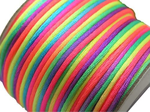U PICK Wholesale Multi-colors 2 Roll 100 Yards 2.0mm Rattail Satin Silk Cord Chinese Knot Beading Cord (19 Rainbow) ()