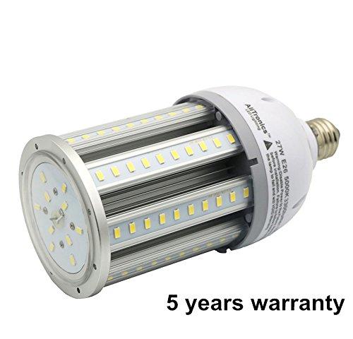 AliTronics 27w Led Corn Bulb,Led Corn Light,3300 lumens,Repalce 100-150W Metal Halide Bulb,5 Year Warranty,5000k White color, Used in Post Top/Acorn/Highbay/ Lowbay Fixture by AliTronics