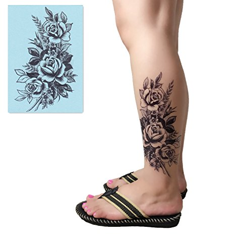 Temporary Tattoo 3 Sheets - DaLin 4 Sheets Temporary Tattoos for Women (Black Rose)
