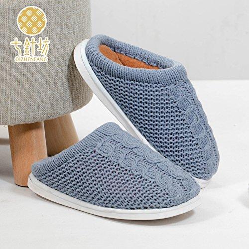 Línea trenzada habuji zapatos zapatillas de algodón cálidos interiores home mujer invierno gruesa, 39, luz azul