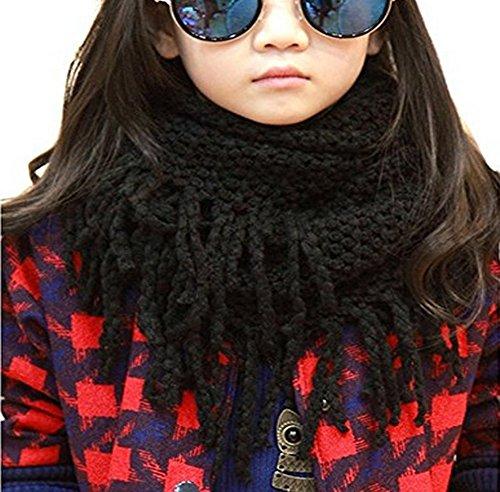 erioctry Unisex Baby Kids Boys Girls Warmer Winter Thick Knit Wool Soft Scarf Neck Long Scarf Shawl (Black)