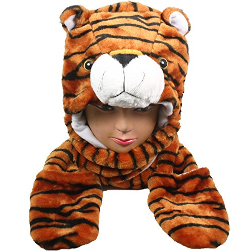 [Tiger_Hat Fluffy Warm Cap Mittens Scarf(US Seller)Animal Hat Winter] (Best 80s Character Costumes)