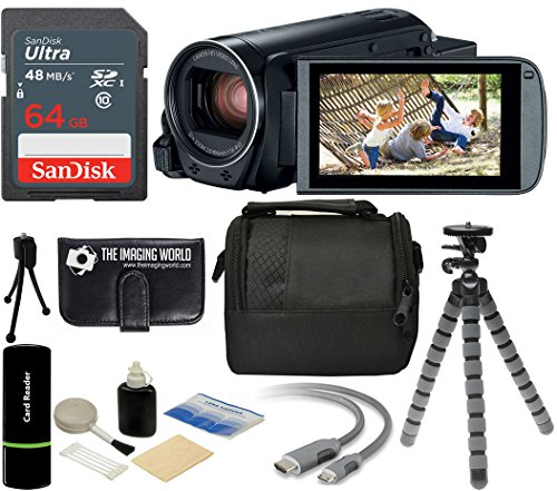 Canon VIXIA HF R800 57x Zoom Full HD 1080p Video Camcorder (Black) + 64GB Card + Case + Tripod + Digital Camera Cleaning Kit – Complete Accessories Bundle
