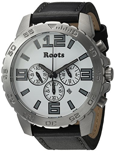 Roots Men's 'Core' Quartz Stainless Steel and Leather Casual Watch, Color:Black (Model: 1R-LF604WH2B)
