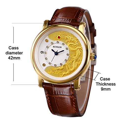 BINLUN Men 18K Gold Automatic Mechanical Watches China Dragon and Great Wall Dial Leather Bands with Date