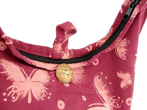 Shoulder Bag Women Hobo for Boho Crossbody Sling Medium Hippie Mauve Thai Butterfly XpBTAZx