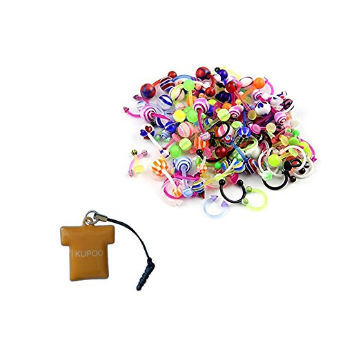 KUPOO Wholesale 80 Flexible Lip Tongue Eyebrow Bar Rings Barbell Piercing Body Jewelry Multicolor