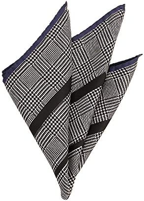 (ザ・スーツカンパニー) MADE IN ITALY/グレンチェック柄シルクポケットチーフ ブラック×オフホワイト×ネイビー