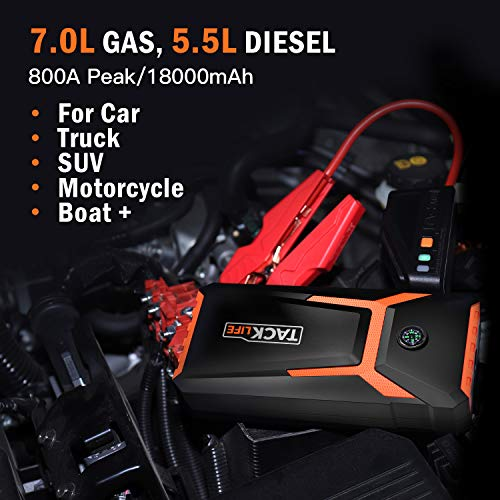 TACKLIFE T8 800A Peak 18000mAh Car Jump Starter (up to 7.0L Gas, 5.5L Diesel engine) with LCD Screen, USB Quick Charge, 12V Auto Battery Booster, Portable Power Supplies with Built-in LED light