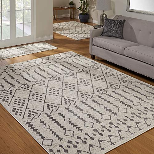 Gertmenian Mythical 3-Piece Carpet Artemis Contemporary Rugs, 2×6 5×7 8×11, Ivory Moroccan Bounty