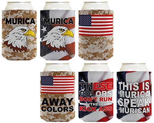 Beer Coolie Patriotic Gift Bundle Murica Camo Eagle 6 Pack Can Coolie Drink Coolers Coolies Multi (Beer Packages For Gifts)
