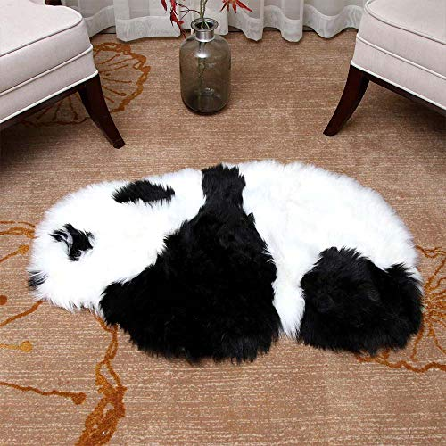 Carpet - Soft Panda Artificial Wool Sheepskin Hairy Carpet Kids Room Long Plush Rugs Area Rug Modern Mat - Insulation Syringe Queen Kitchen Flea Handle Drill Sided Zebra With (Panda Wool)