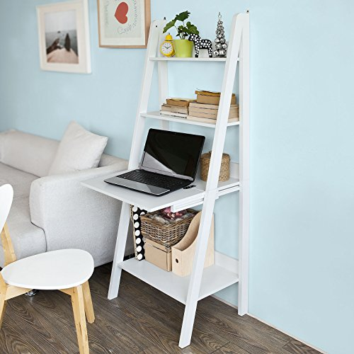 Bookcase Secretary Desk - Haotian Modern Ladder Bookcase Made of Wood, Book Shelf,Stand Shelf, Wall Shelf (FRG115-W)