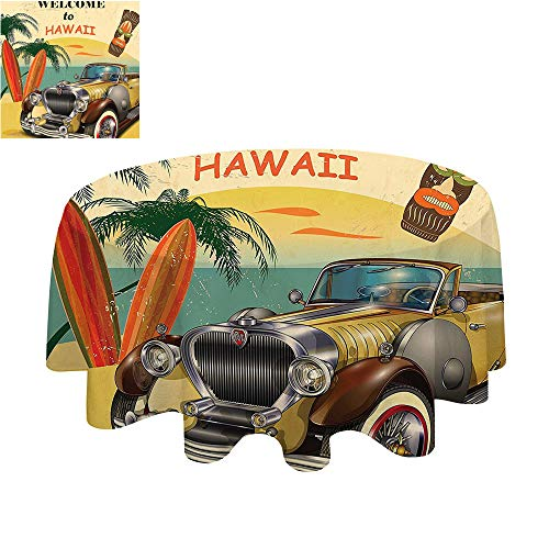 SATVSHOP Dust-Proof Table Cover for Kitchen Dinning Tabletop Decoration-70Inch-Island Car 1960s Welcome to Hawaii etro American Pop Art with Car Palms Tribal Mask and Surfboards ()