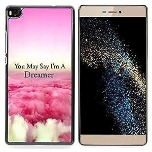 """Qstar Arte & diseño plástico duro Fundas Cover Cubre Hard Case Cover para Huawei Ascend P8 (Not for P8 Lite) (Dreamer Nubes Rosa Sobre Cita Volar"""")"""
