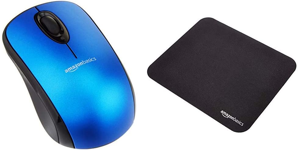AmazonBasics Wireless Mouse with Nano Receiver and Mini Gaming Mouse Pad, Blue