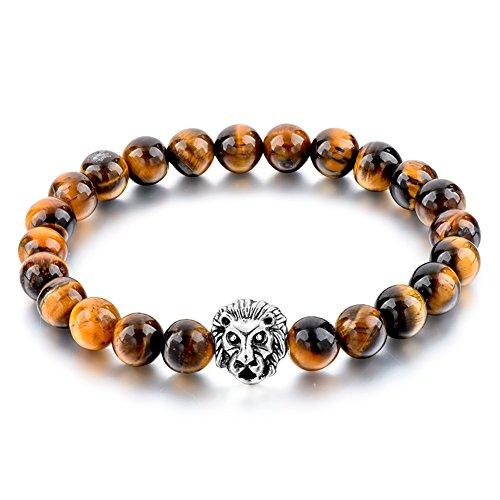 Lion Tiger (Bead Bracelet Tiger Of Eye Lion Tibetan Buddhist Prayer Mala Elastic Stone Bracelet 8mm)