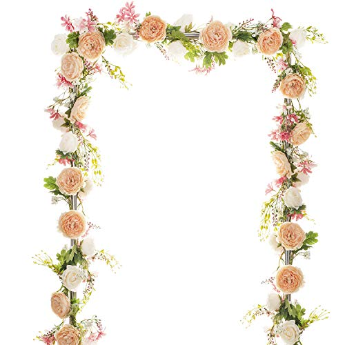 Rose Garland Mirror - Artiflr 6 Ft Artificial Peony Garland Flowers, Floral Greenery Garland Rose Flower Vine Garland with Mixed Peony Flowers and Green Leaves for Wedding Dining Table Home Party Decor
