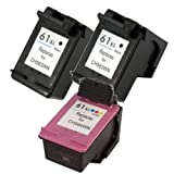 3 Pack Ink4work Remanufactured HP 61XL High-Yield Black and Color Ink Cartridge For Deskjet 1000/1050/1051/1056/2050/2510/2512, Office Central