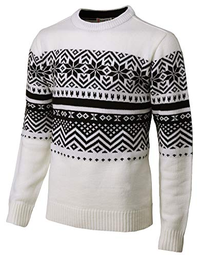 H2H Mens Casual Snowflake Patterned Christmas Pullover Sweater White US 2XL/Asia 3XL (CMOSWL035)