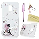 S5 Active Case,Galaxy S5 Active Case (Not for S5) - Mavis's Diary Lovely Pink Butterfly Fairy Colorful Flowers Pattern Clear Cover Hard PC Case for Samsung Galaxy S5 Active & Cute Dust Plug & Stylus