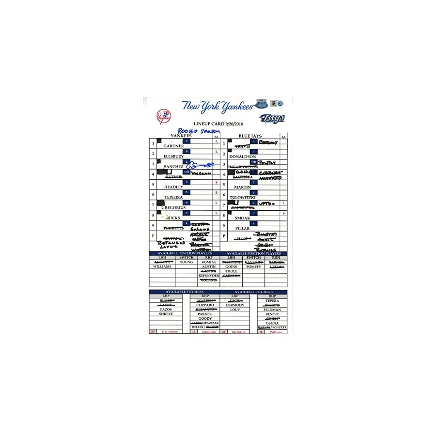 Gary Sanchez Signed Yankees at Blue Jays 9 26 2016 Game Used Lineup Card w/ Rookie Season Insc (JB986547)