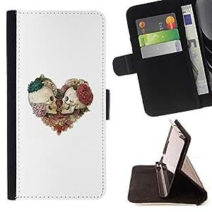 BullDog Case - FOR/Sony Xperia Z3 D6603 / - / SKULL FLORAL WHITE ROSE DEATH HEART /- Monedero de cuero de la PU Llevar cubierta de la caja con el ID Credit Card Slots Flip funda de cuer
