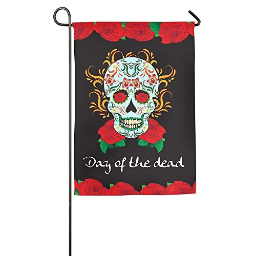 amuseds Dia De Los Muertos Garden Flag Yard Decorations Flag