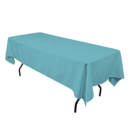 Genial LinenTablecloth 60 X 102 Inch Rectangular Polyester Tablecloth Turquoise