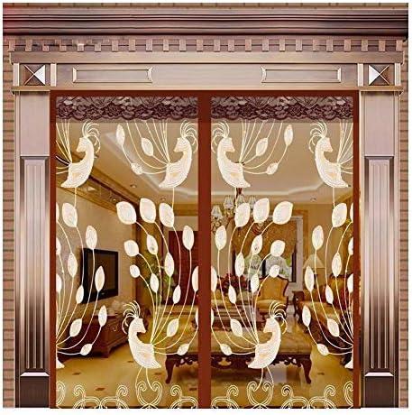網戸用ネット 網戸 大きなカーテン バルコニーゲートヴィラホテルホール ハンズフリー 自動クローズ 防蚊メッシュカーテン シャンボ14011 (Color : Coffee Brown, Size : 160x220cm)