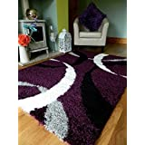 4 SIZES AVAILABLEEXTRA LARGE SMALL MEDIUM PURPLE BLACK CREAM SILVER NEW MODERN SOFT THICK SHAGGY NON SHED PILE BEDROOM RUG HALL CARPET LIVING ROOM MAT CHEAP (160 x 225 cms) by RUGS 4 HOME