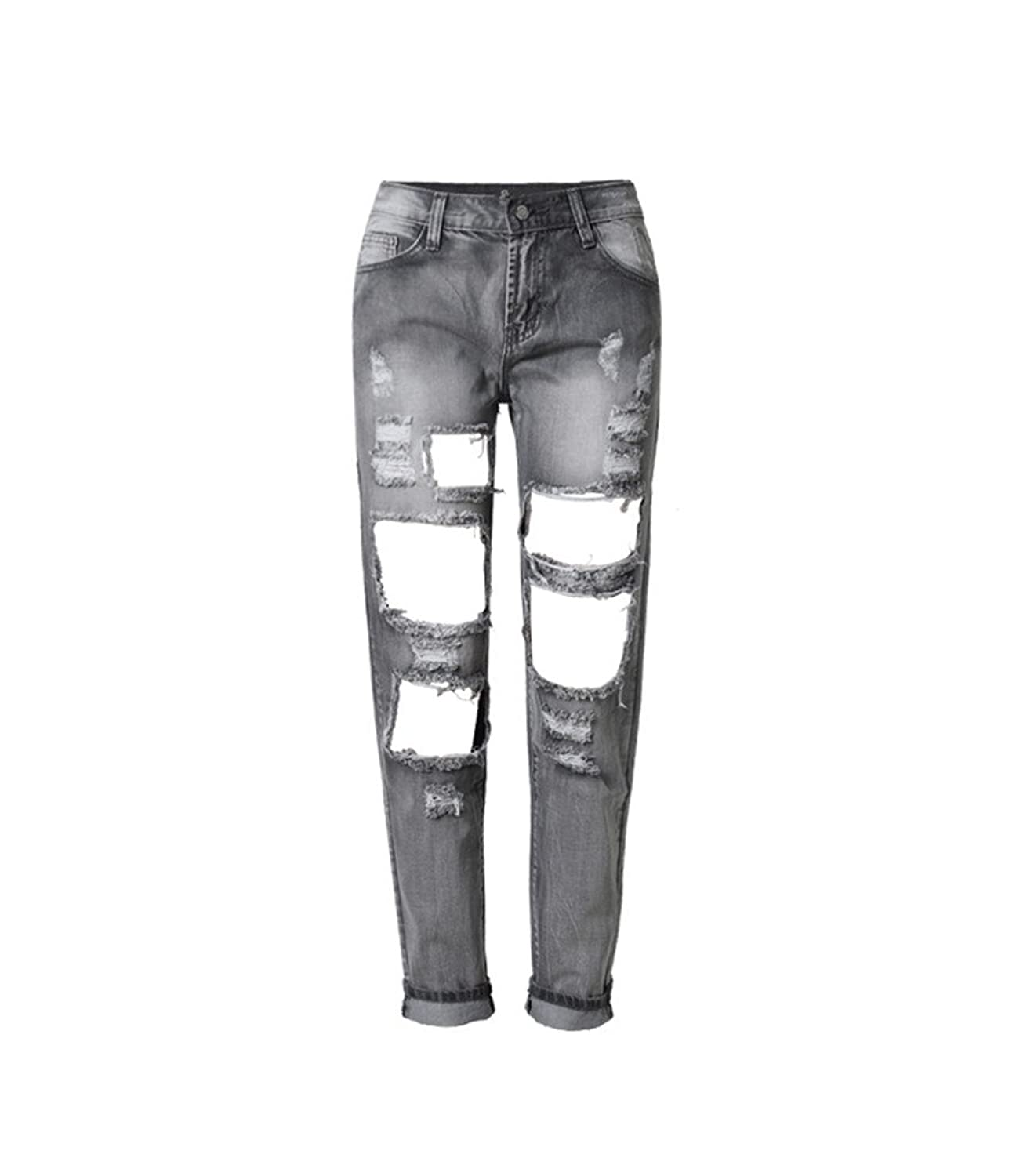 Women's Destroyed Ripped Holes Distressed Cuffed Hem Straight Jeans Grey