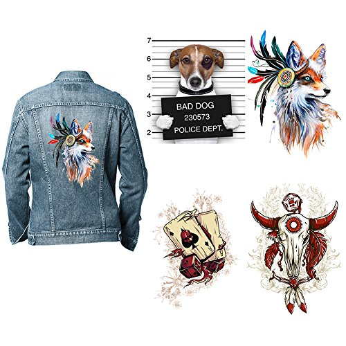 Funny Dog Patches for Jeans - 4 Sets Jumbo Fox Iron On Patch Set, Cool DIY Heat Transfer Decoration Sticker with Skull Poker Design for Theme Party Club