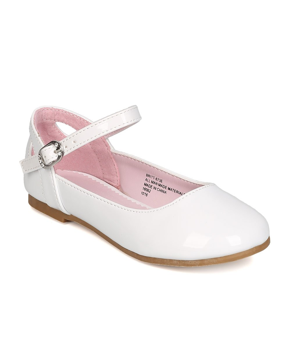 Girls Patent Leatherette Ankle Strap Cut Out Ballet Flat GB41 - White (Size: Little Kid 11)